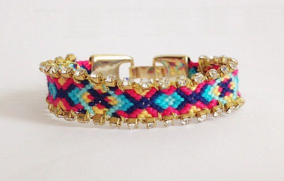 Cute OOAK Rhinestones Embellished friendship bracelet - for the inner child, with a glam touch