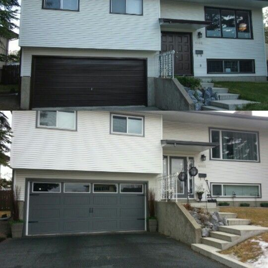Before and after 70s bilevel. Carriage garage accessories. Slate grey. Lanterns. Curb appeal. Let the light in.