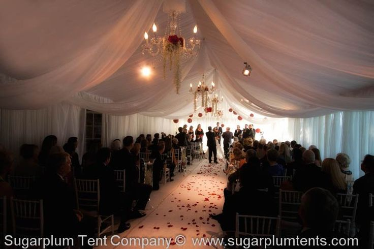 This Ceremony Became A Very Intimate Occasion With The White Liner And Delicate Swags Note Sheer Taffeta Tent Walls Wedding