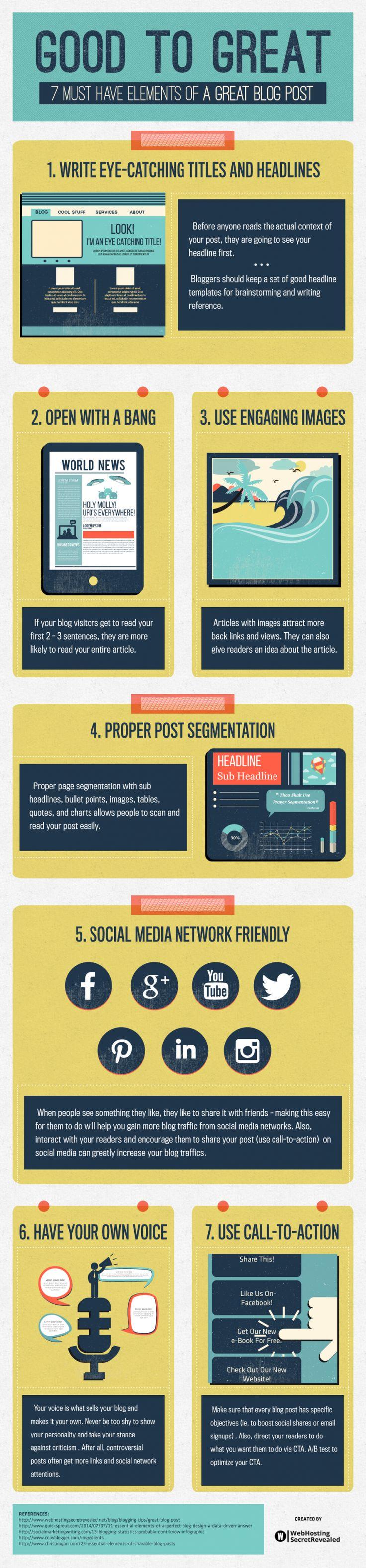 7 elementos de un gran post para tu blog #infografia #infographic #socialmedia