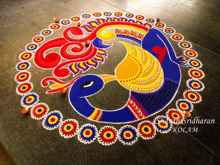 #peacock#blue#kolam#red