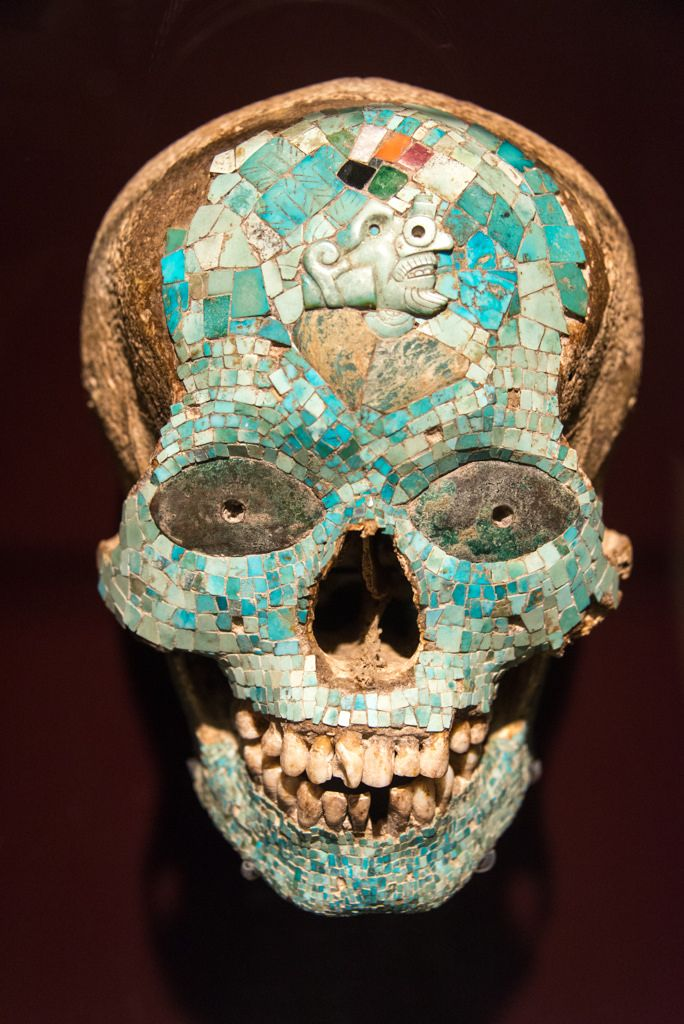 Mask of Xiutecuhlti, god of fire; turquoise mosaic on a real skull; 1325-1521 A.D., Aztec-Mixtec, Mexico.