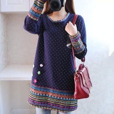 2016 autumn winter kimono linen flannel splice rainbow striped shirt Elegant ladies polka dot blouse embroidery Flowers blusas