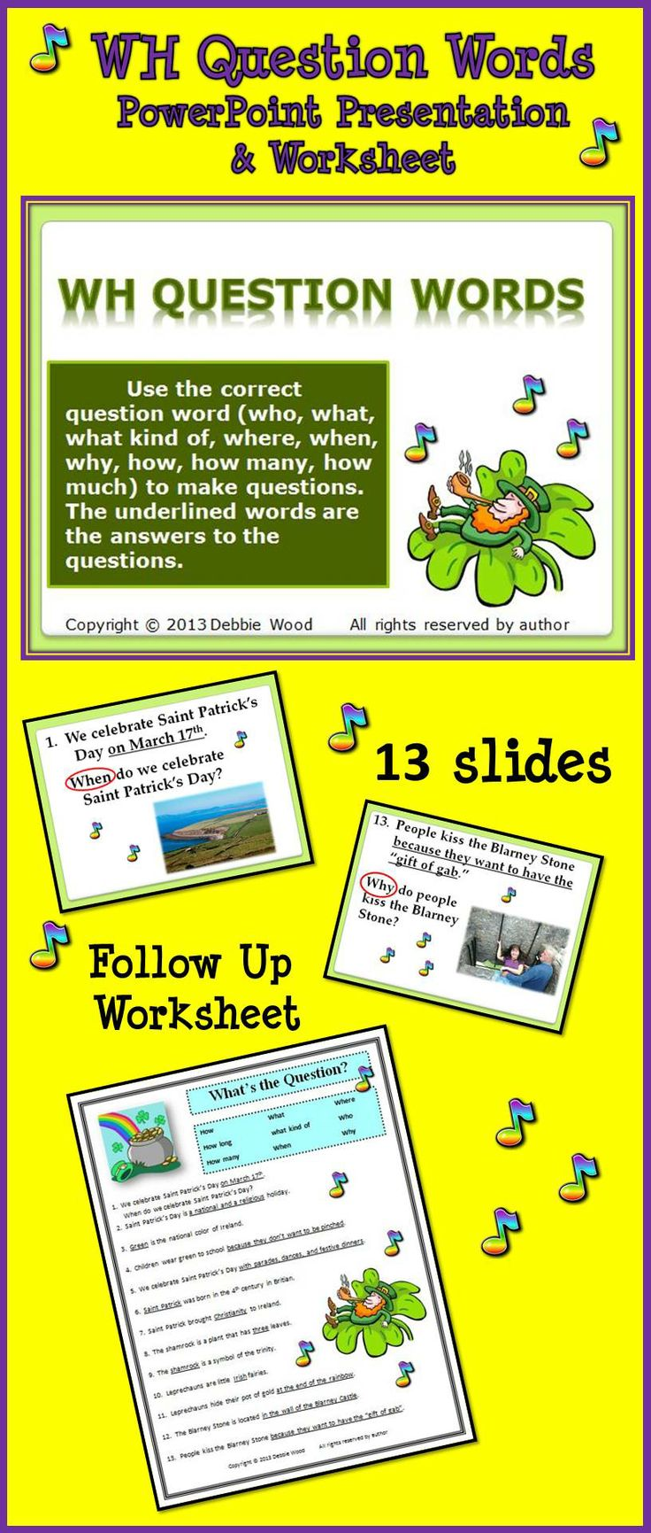 50 best my st patricks day resources images on pinterest st patricks day fun wh questions grammar robcynllc Gallery