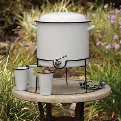 Crow Canyon Home ~ Enamelware ~ Beverage Dispenser  I like that it is not glass or plastic that can easily break.