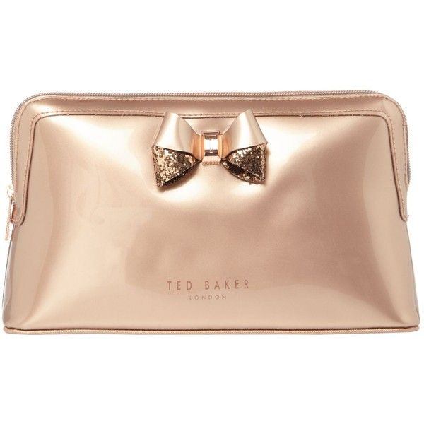 Ted Baker Tellina Glitter Large Makeup Bag ($39) ❤ liked on Polyvore featuring beauty products, beauty accessories, bags & cases, travel kit, makeup purse, make up bag, toiletry bag and ted baker makeup bag