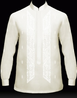 Creating some barongs for Pops & the Boy: My Barong, Men's Barong Tagalog Customizer (121) - jusi fabric, mandarin collar, button cuffs, half-length covered buttons, embroidery design #1026. $90.