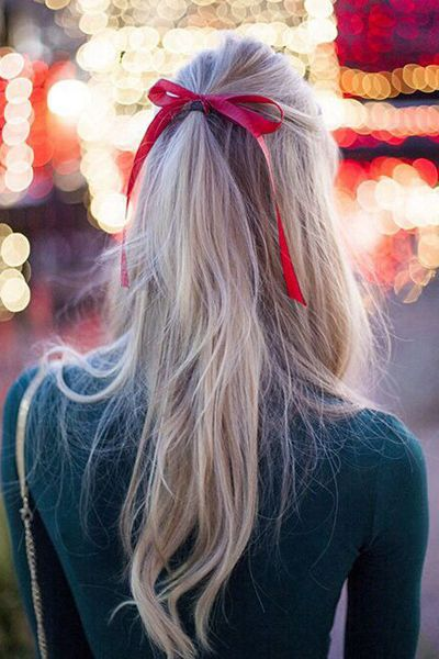 half up hairstyle with ribbon