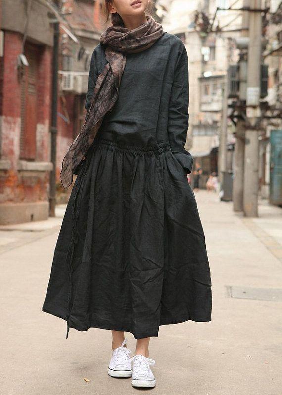 Des robes jupes Lin noir chemise robe plissé par camelliatune