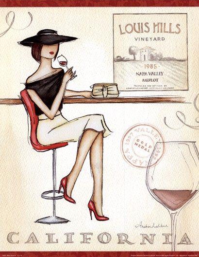 """Louis Hill Vineyard"" Wine Event (California) Wine Art Composition - vintage typography #women&wine"