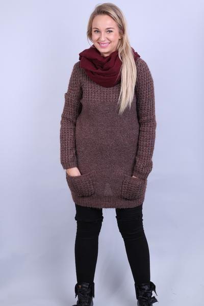 New Look Womens 14 L/XL Jumper Long Sweater Walnut Crew Neck - RetrospectClothes