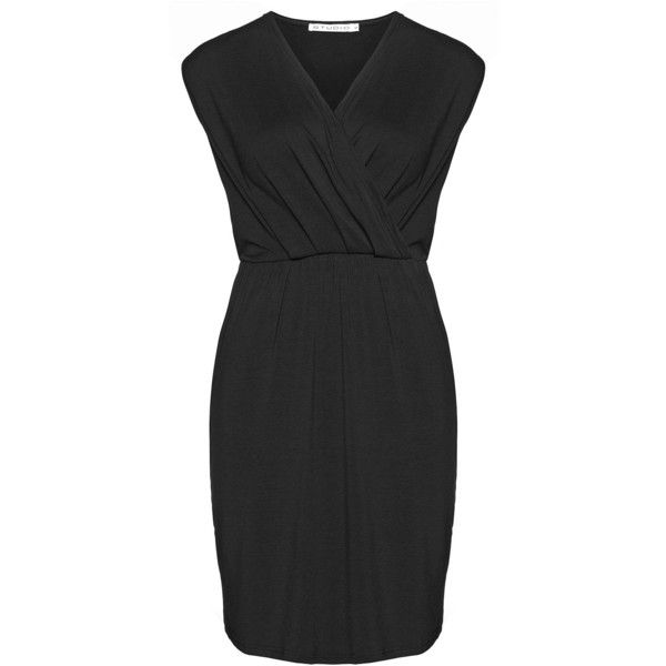 Studio Black Plus Size Jersey wrap dress (67 CAD) ❤ liked on Polyvore featuring dresses, black, plus size, plus size night out dresses, holiday party dresses, night out dresses, party dresses and plus size party dresses