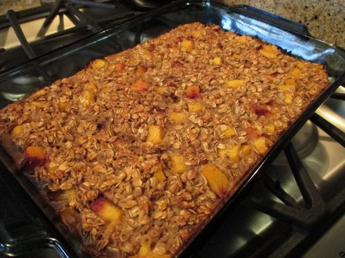 Baked Oatmeal with Peaches @jodee50  http://learnfromyesterday.com