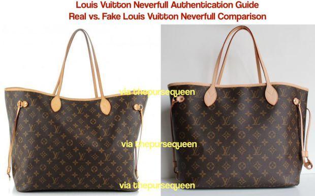 Can You Spot a Fake Louis Vuitton Bag  Authentic vs. Replica Louis Vuitton  Neverfull Comparison befd4bb1c9