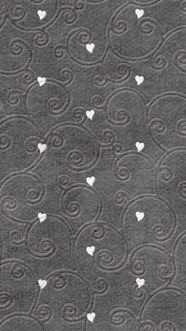 Hearts pattern embroidered iPhone 5 Wallpaper Download - more free iPhone Wallpapers on www.ilikewallpaper.net