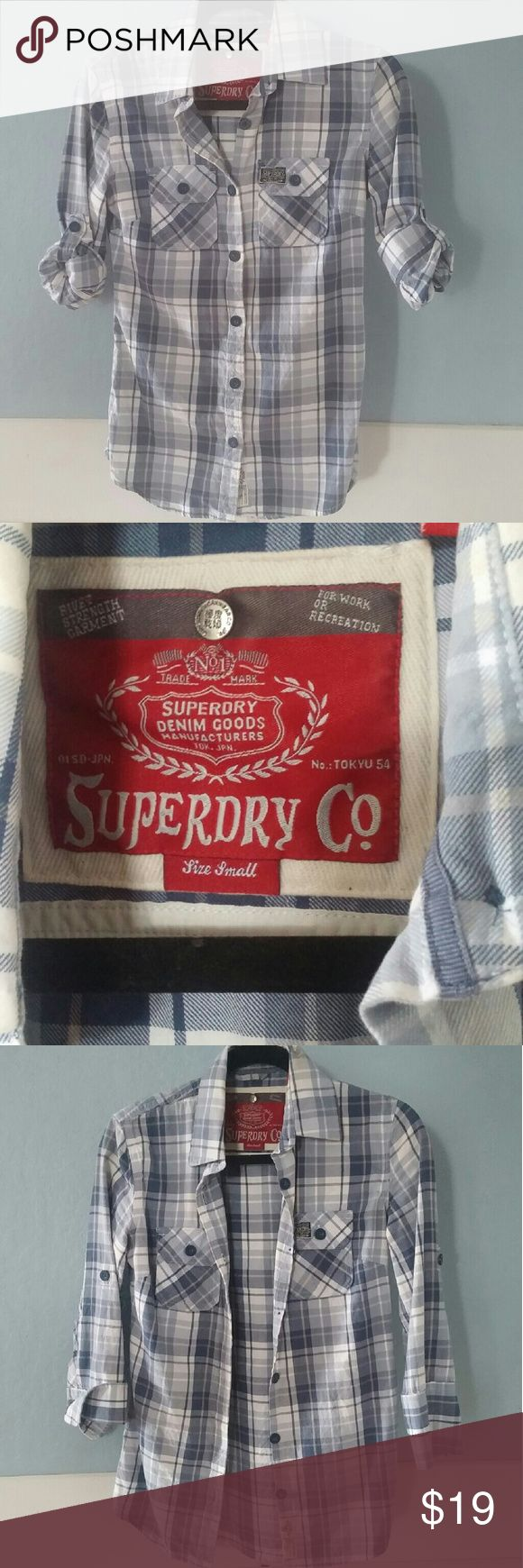 Superdry Plaid button up Like new, heavyweight cotton button up. Bought at Nordstrom Superdry Tops Button Down Shirts