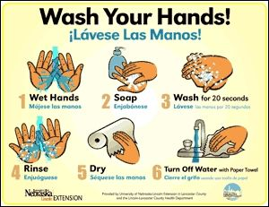 Download Free handwashing poster - English & Spanish - from U. of NE