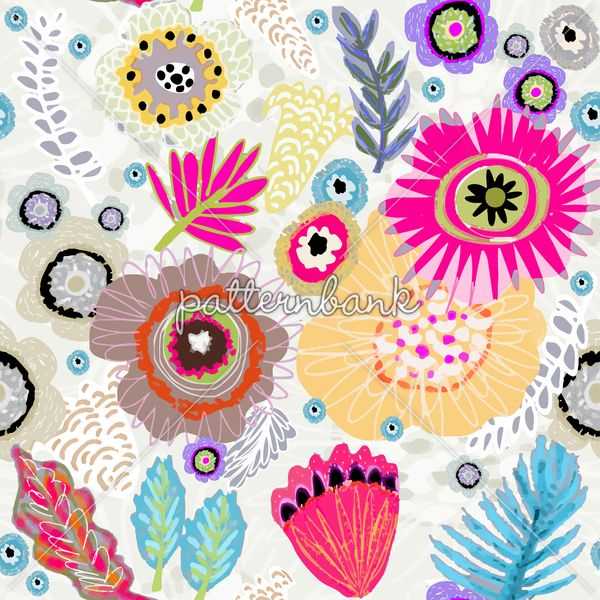 Expressive Bloom Organic Loosely Drawn Flowers Floral Bohemian