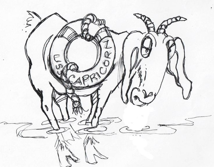 "Preliminary sketch for children's picture book, ""The Word Changer"". ""USS Capricorn Goat"" by Cathy Carpenter."