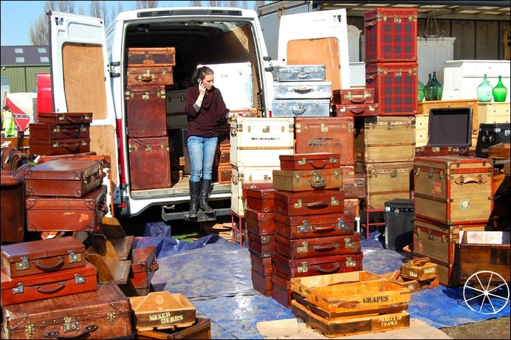 Just one of the antique suitcase dealers at the Newark Antiques Fair