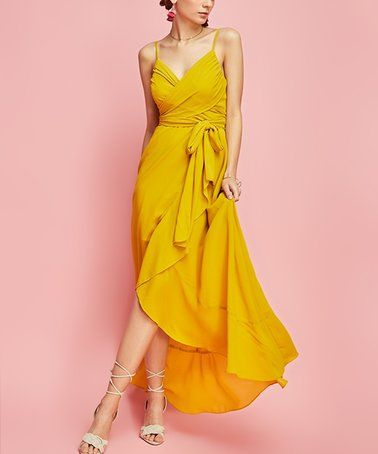 739ca3a5db22 Another great find on #zulily! Gold Mustard Crisscross Tie-Waist Maxi Dress  #