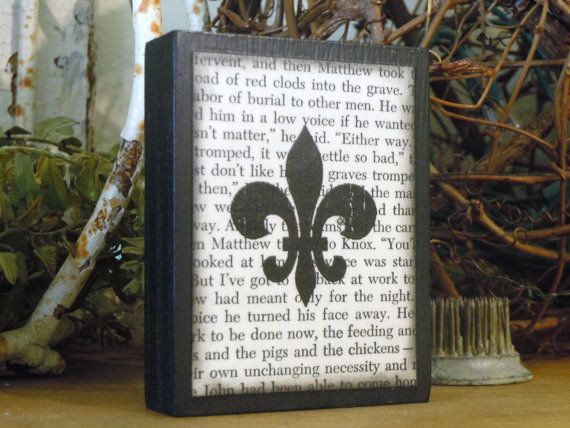 Fleur De Lis Decor Wooden Block   For Your Desk, Shelf, Office, Mantel