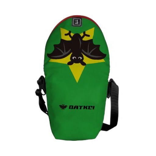 Star Bat Green Messenger Bags by Batkei  at Zazzle