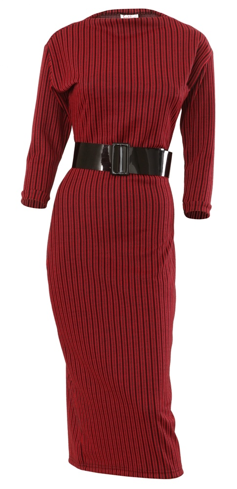 Dress Length T Shirt !!, No bells,  but plenty of whistles ! A slender column of knitted jersey and Lycra,  vertical stripes in red and black,  Italian cut high neckline and 3/4 length sleeves. Wear with flats during the day,  or with heels at night - dress up,  or dress down !, *belt not included., SIZING, BUST WAIST HIP LENGTH, S 92cm 68cm 92cm 121cm, M 96cm 70cm 96cm 122cm, L 100cm 72cm