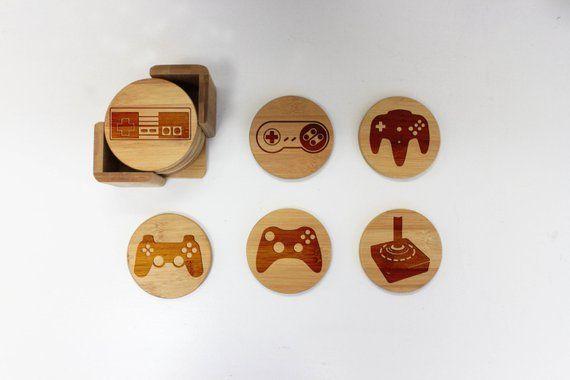 Gamer Coasters, Round Coaster Set, Engraved Bamboo Wood Coasters, Video Game Geek Lover Housewarming Gift –22060-CST2-001