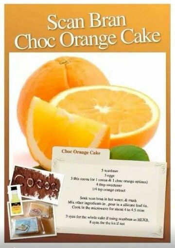 Scan bran chocolate and orange cake. Slimming world