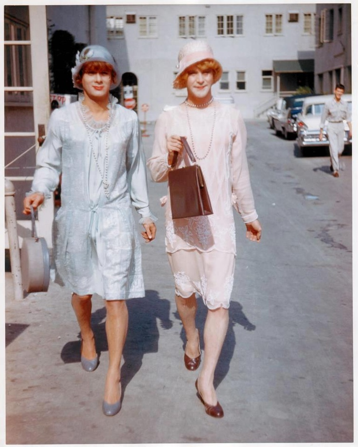 """Tony Curtis and Jack Lemmon  on the studio lot during the filming  of """"Some Like It Hot"""" (1959)  https://sphotos-b.xx.fbcdn.net/hphotos-prn1/11515_531930536858884_2130211802_n.jpg"""
