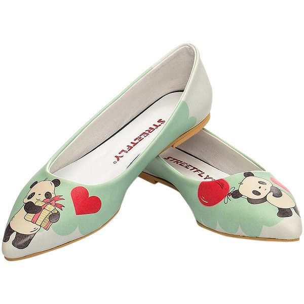 Streetfly Mint Panda Ballet Flat ($35) ❤ liked on Polyvore featuring shoes, flats, plus size, pointy-toe flats, colorful flats, ballerina pumps, multi color flats and mint ballet flats