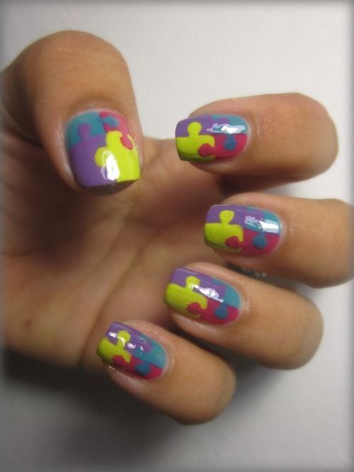 Nails, Puzzle Pieces, Nails Polish Design, Puzzles Piece, Jigsaw