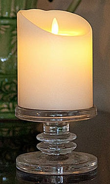 5 Inch Ivory Remote Control Luminara Candles are the most realistic looking candle you can find without the hazard of an open flame. An internal LED source within the candle shines through a prism onto a flame tip. This movement created by two magnets repelling against each other and is similar to the movement of a true fire burning candle. Creates such a beautiful ambience
