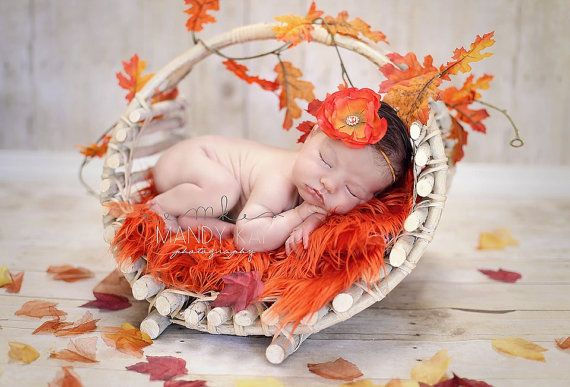 SALE Peas and Quiet Orange Faux Fur Newborn Nest Infant Toddler Photography Prop Ready to Ship. $18.00, via Etsy.