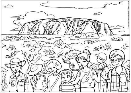 Uluru colouring page free printable