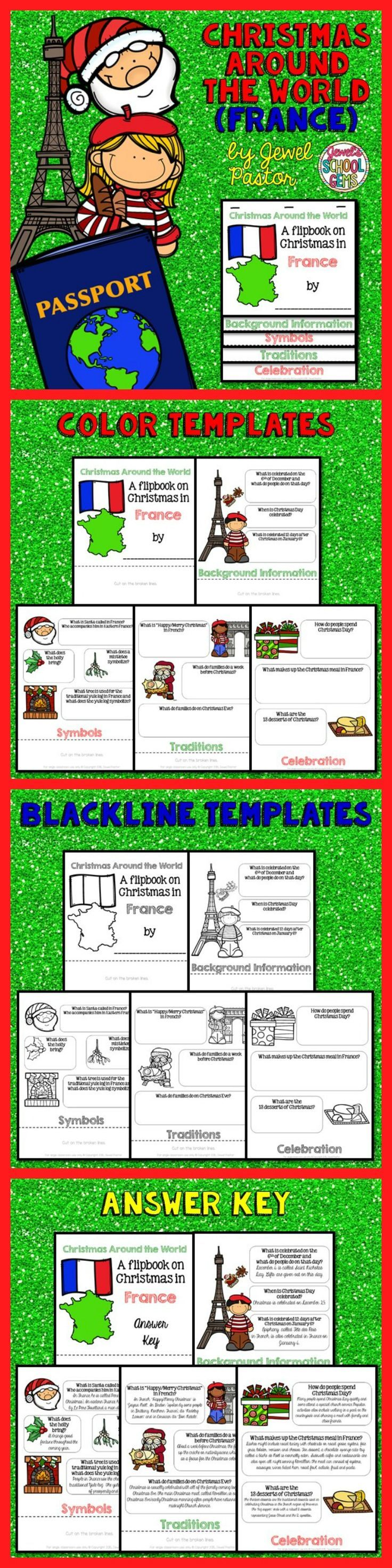 """CHRISTMAS AROUND THE WORLD (FRANCE)  Engage your students with this Christmas Around the World Activity: """"A Research Flipbook on Christmas in France"""".  This resource contains: *5 pages of color templates *5 pages of black and white templates *5 pages with answers to the questions (Answer Key)  Children will learn about Christmas traditions and celebrations in France in a fun and interactive way with this flipbook research project!"""