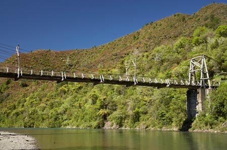 Historic Tauranga Bridge and Waioeka River, Waioeka Gorge, Bay of Plenty, North Island, New Zealand