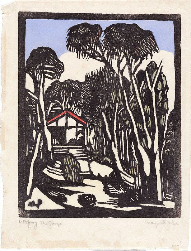 The garage, (circa 1932) by Margaret Preston :: The Collection :: Art Gallery NSW