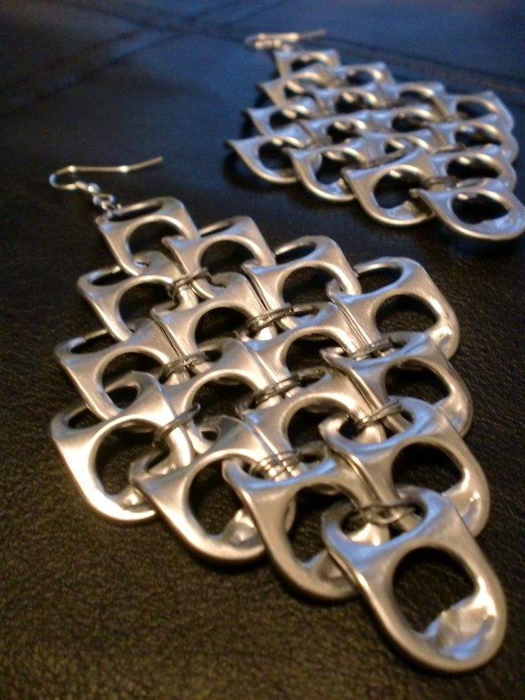pop tab crafts | Pop Tab Earrings Silver/Gray XL. $4.50, via Etsy. | Pop Tab…