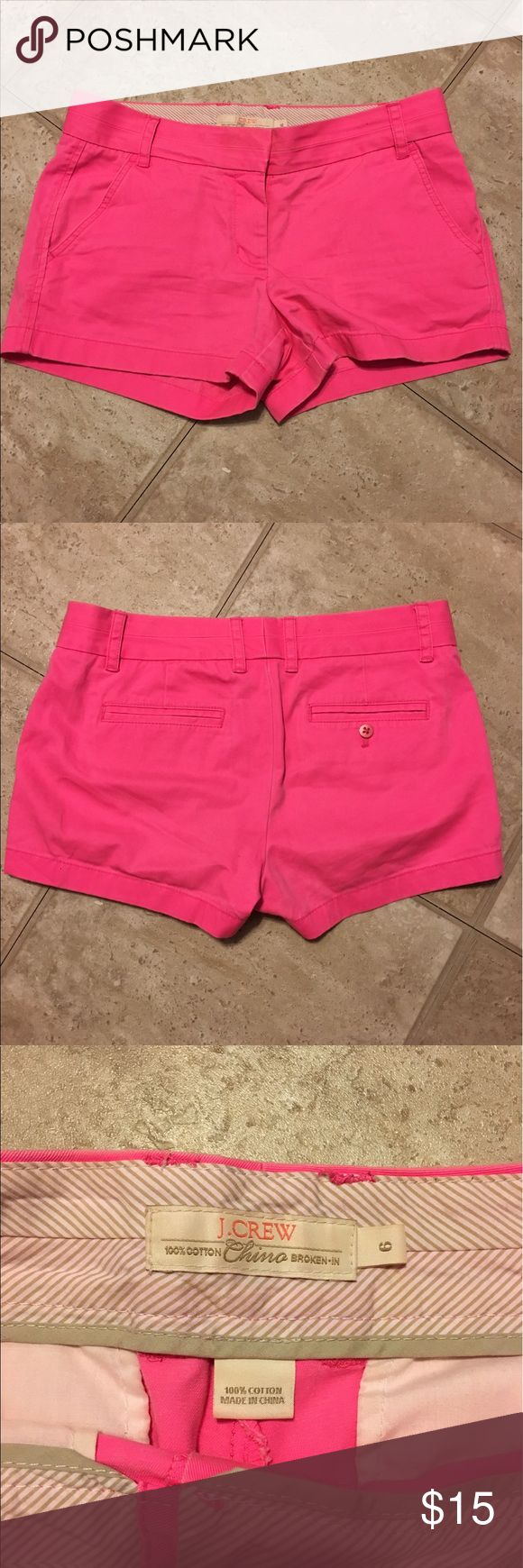 J. Crew Hot Pink Shorts EUC hot pink shorts. Light fading but they were made to look that way. Bought from another posher but they didn't fit me. J. Crew Shorts
