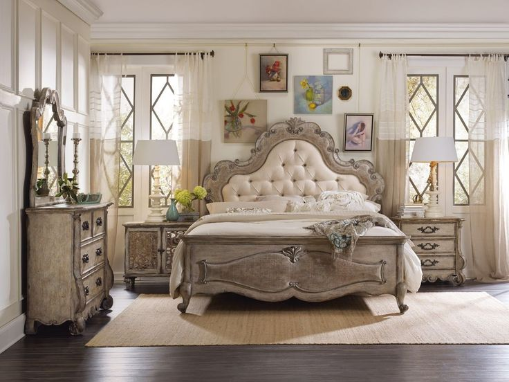 "Hooker Furniture Chatelet Upholstered Panel Bedroom Set. Come home to your little castle. Relax in a livable luxury with Chatelet, a whole home collection inspired by timeless farm style antiques found in ""little castles"" of Old World Europe."