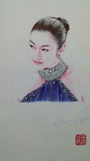 김연아씨 볼펜화 yunakim  ballpoint pen art!