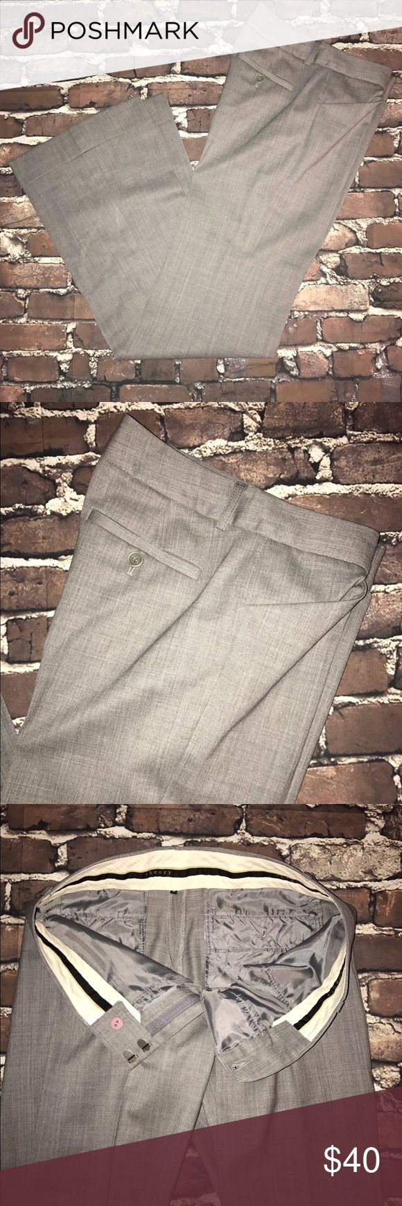 """THEORY~Flare leg Cuffed Dress Slacks Pants Size 0 New without tags..inseam is 32"""", length 40""""..2"""" cuff is Factory tacked on sides of hem and can be dropped for 2"""" additional length if needed for tall or leggy ladies. Lightweight season less wool would be okay for year-round wear! Theory Pants Trousers"""