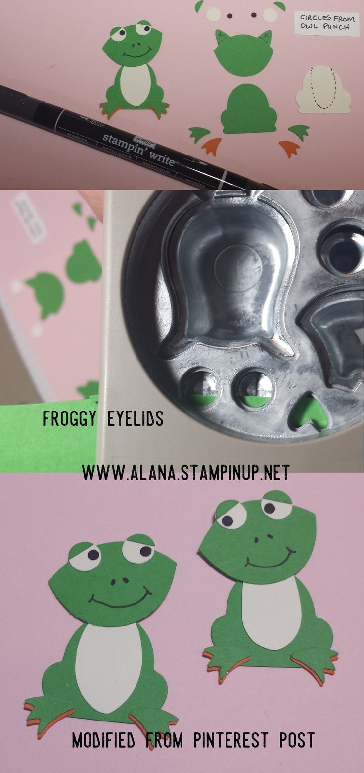 Frog Punch Art. Using Foxy Friends Stamp Set and Foxy Builder Punch from Stampin' Up!