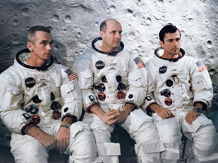 The prime crew of the Apollo 10. They are from left to right: Lunar Module pilot, Eugene A. Cernan, Commander, Thomas P. Stafford, and Command Module pilot John W. Young. (Apr. 3, 1969)