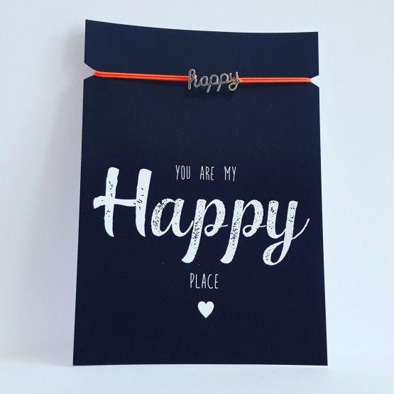 Kaart met armbandje Happyarmbandje oranje/rozekaart 10,5 * 14,8 cmYou are my Happy place