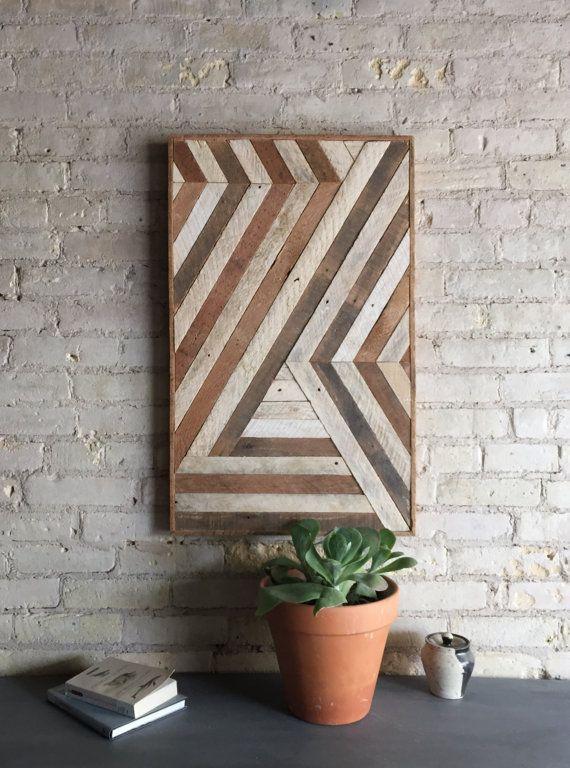Reclaimed Wood Wall Art, Wall Decor, Abstract Chevron, Geometric, Lath Design