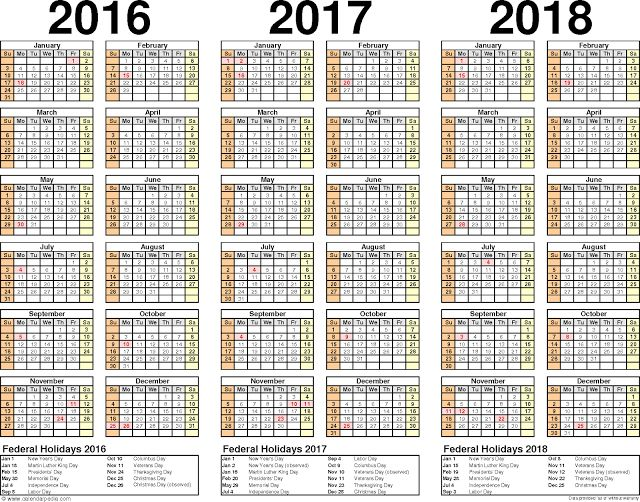 Calendar Pdf Three Year Calendars For