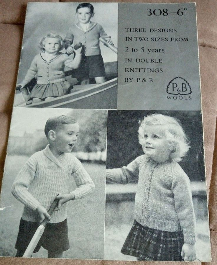 DK Designs for 2-5 Year Olds Patons 308 vintage knitting pattern #Patons